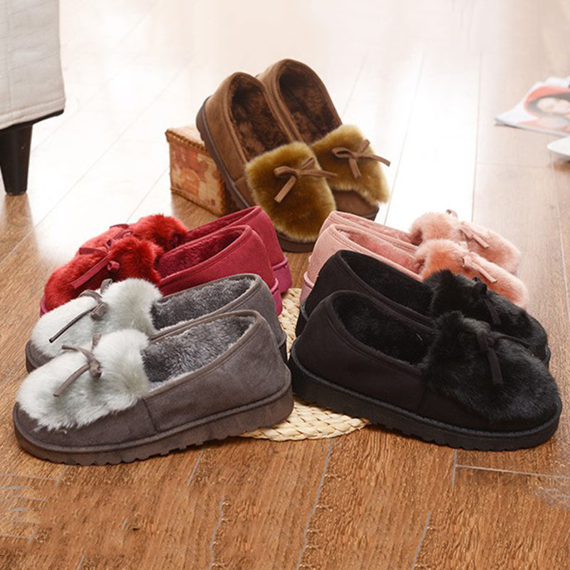 Fur Faux Suede Bowknot Warm Slip On Slippers