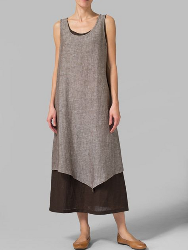 Coffee Paneled Sleeveless Summer Dress