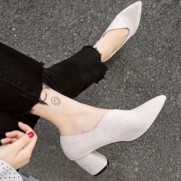 Women Flocking Chunky Heel Pumps Casual Slip On Shoes