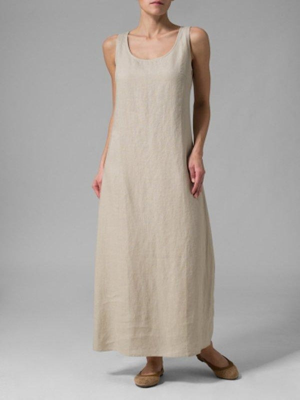 Linen Scoop Neck Sleeveless Long Dress