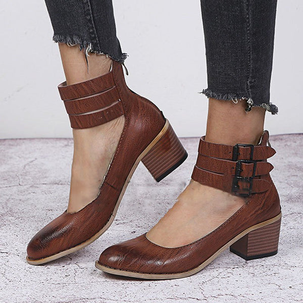 Casual  Buckle Sandals Back Zipper Booties