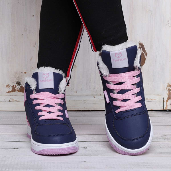 Women Athletic Warm Boots Warm Sneakers Lace Up Shoes