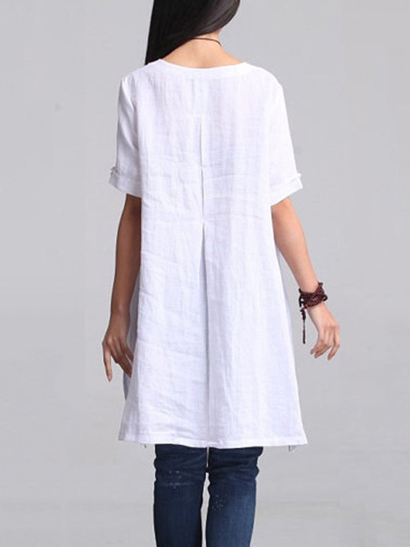 Solid Casual 3/4 Sleeve Linen High Low Dress