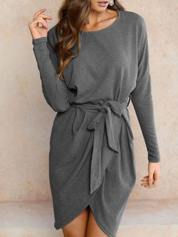 Casual Asymmetrical Crew Neck Long Sleeve Solid Dress