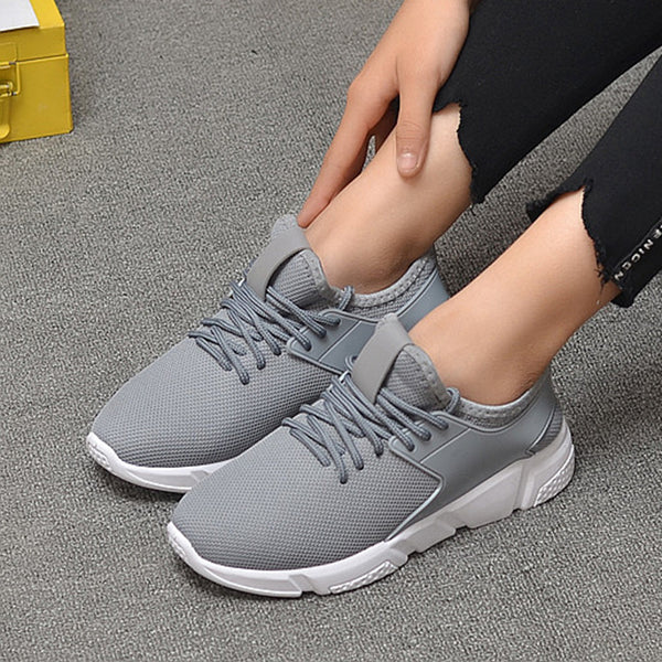 Breathable Mesh Cloth Panel Fleece Lined Lace-up Sneakers