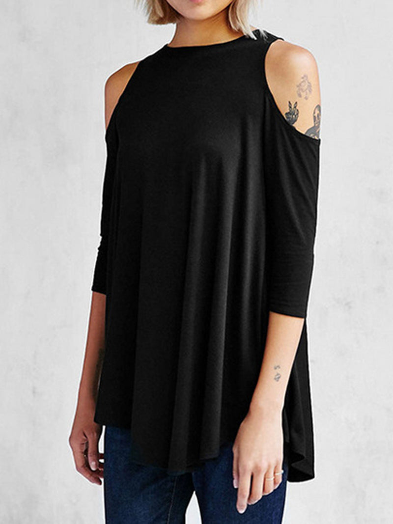 Black Polyester Solid Casual T-Shirt