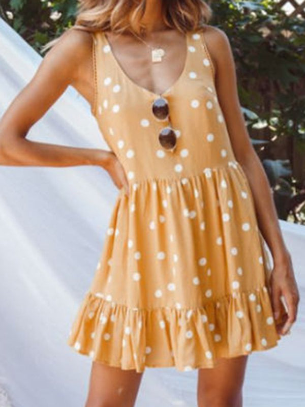 Women Polka Dots Mini Dresses Crew Neck  A-Line Daily Paneled Dresses