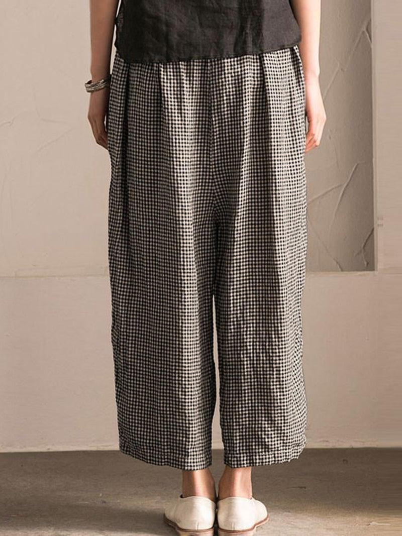Pockets Shift Checkered/Plaid Casual Pant