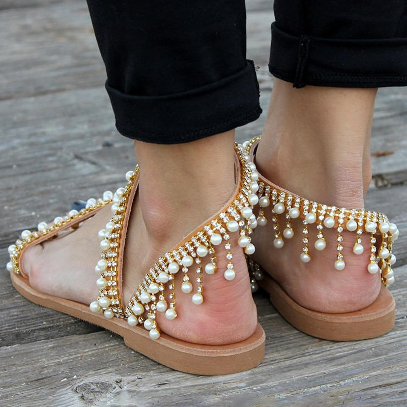 Women Leather Casual Pearls Sandals