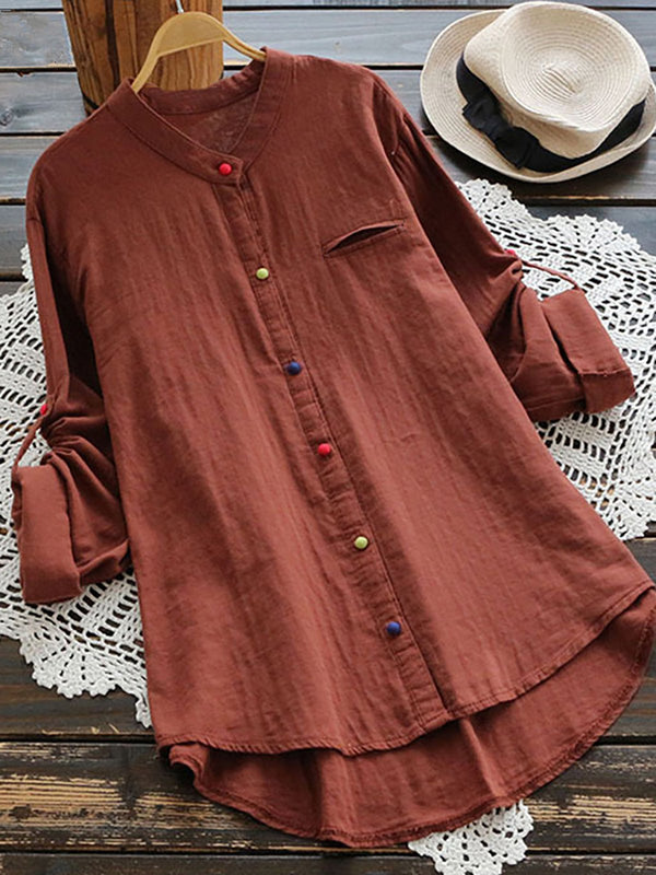 Women Solid Color Plus Size Tops Long Sleeve Causal Blouses for All Season