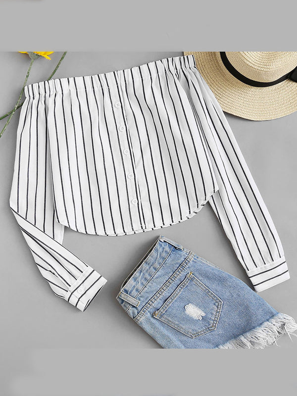 Women Striped Off Shoulder Long Sleeve Blouses Tops