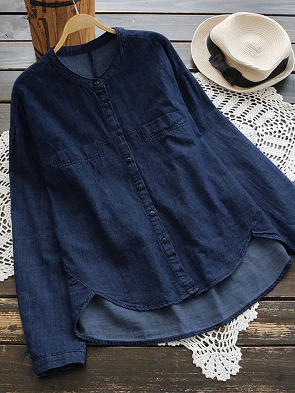 Plus Size Casual Long Sleeve Top Denim Blouses For All Season