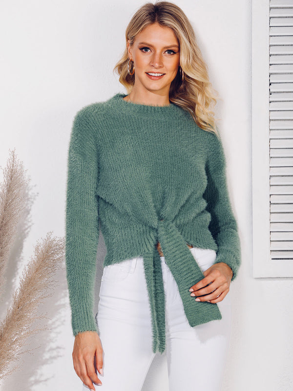 Knot Front Shift Long Sleeve Sweater