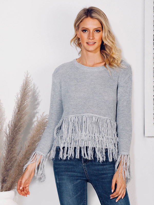 Crew Neck Fringed Shift Casual Sweater