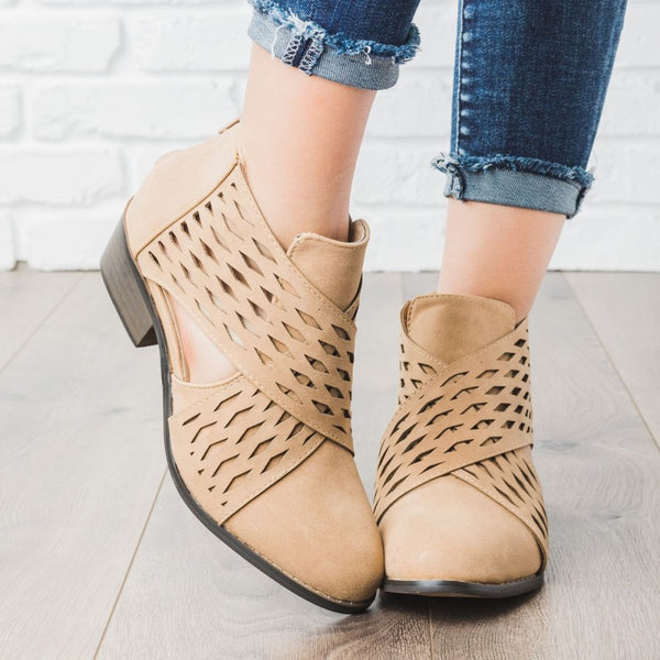 Laser Cut Criss Cross Booties Low Heel PU Zipper Ankle Boots