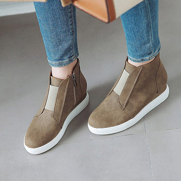 Comfort Zipper Wedge Sneakers Boots Wedges with Side Zipper