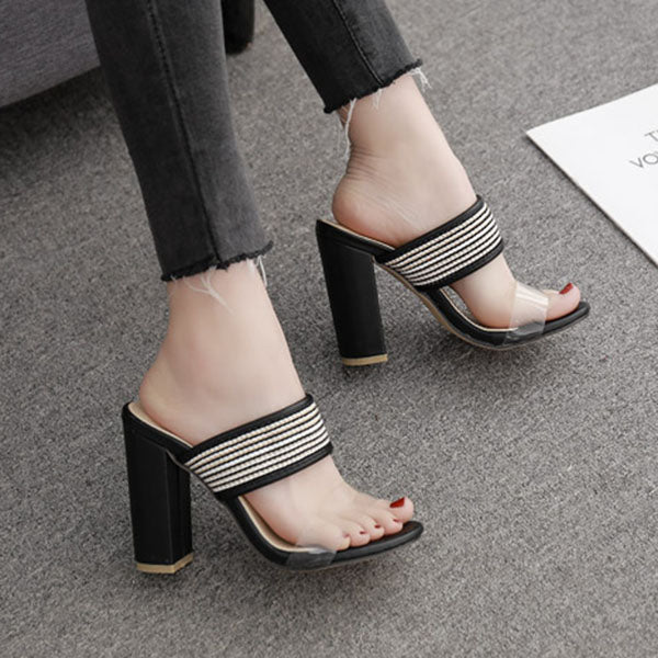 Women Casual Chic Chunky Heel PVC Slide Sandals
