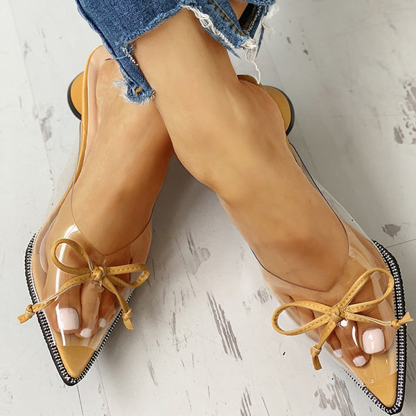 Transparent Pointed Toe Bowknot Slide Heeled Sandals