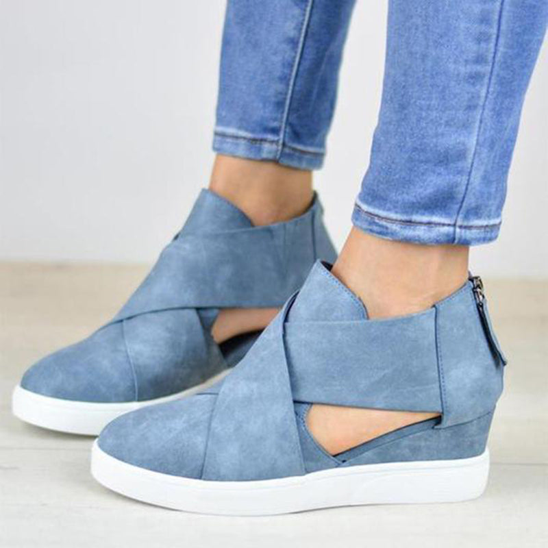 Criss-cross Cut-out Wedge Sneakers Plus Size Wedge Heel Shoes with Zipper