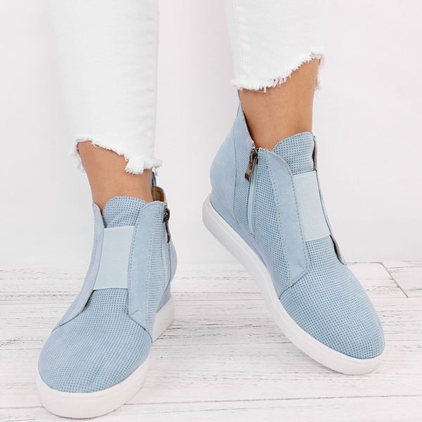 Platform Wedges Strap High Top Zipper Womens Fashion Sneakers