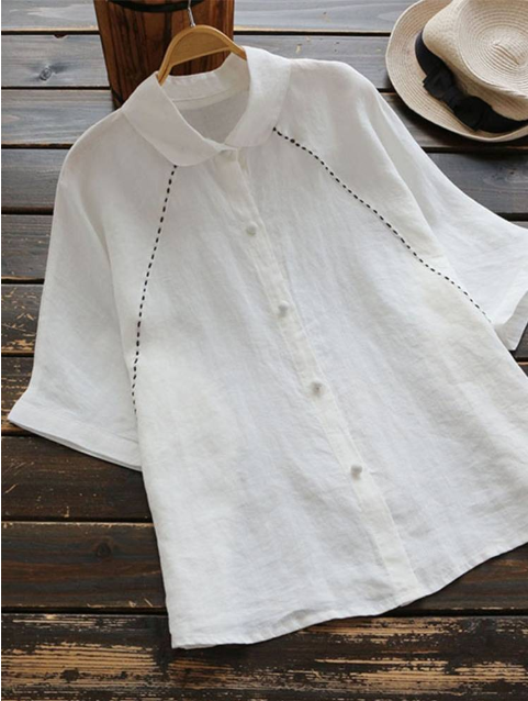 Women Summer Causal Linen Tops Solid Color Shirt Collar Cute Blouses