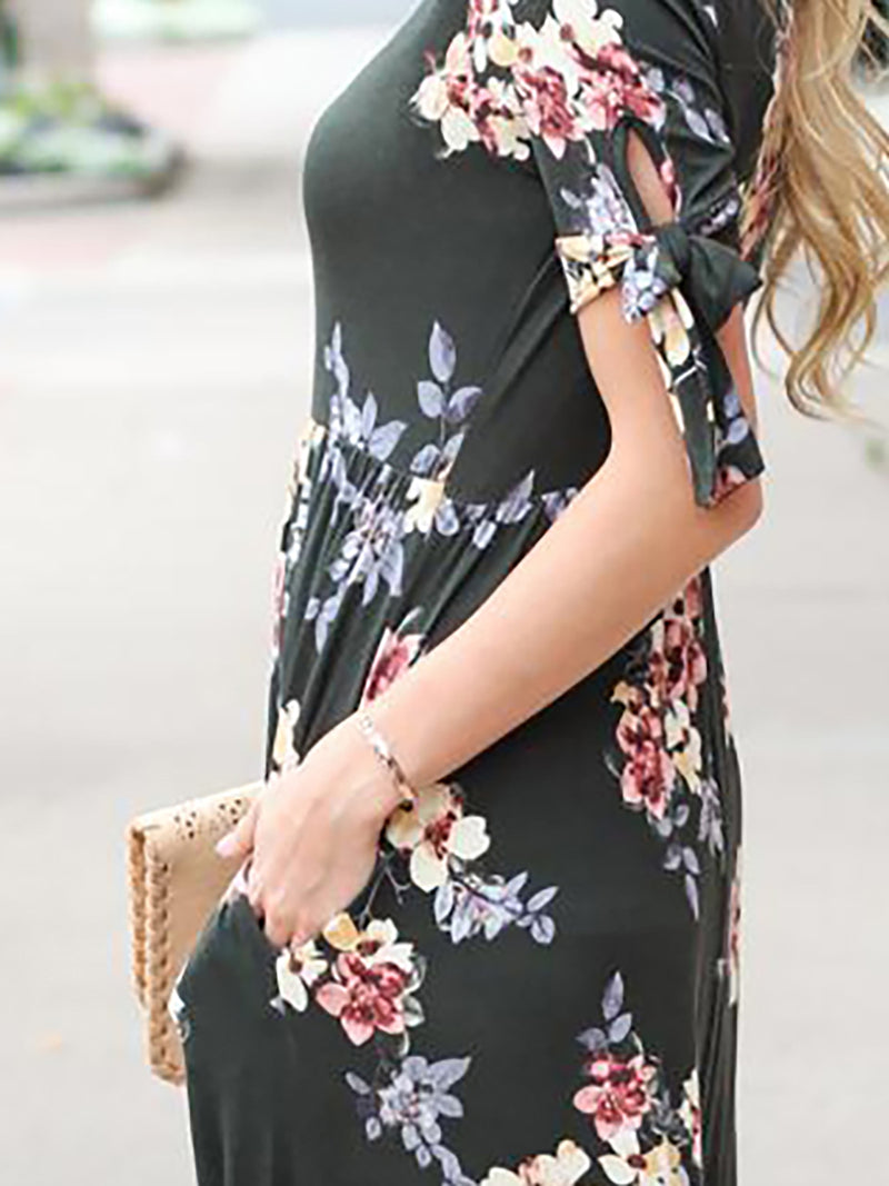 Floral-print Half Sleeve Maxi Dress