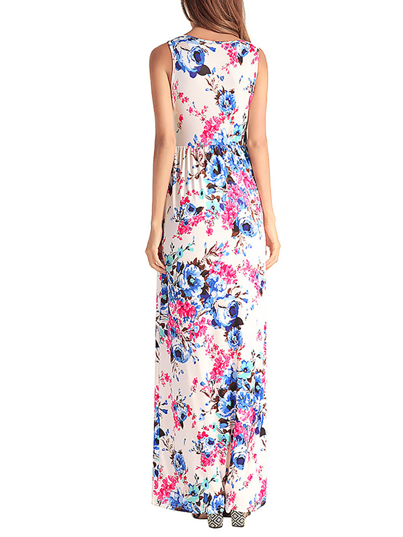 Sleeveless Floral-print Casual Maxi Dress