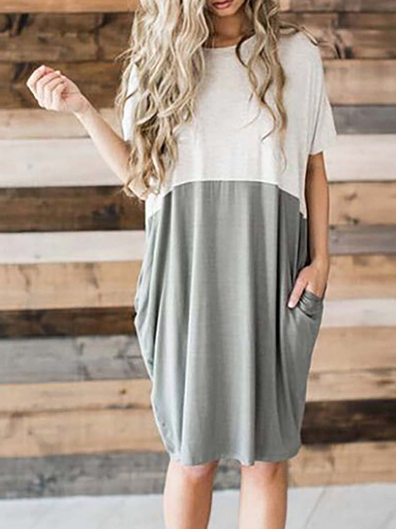 Paneled Shift Crew Neck Short Sleeve Midi Dress