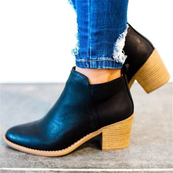 Women Ankle Boots Autumn Winter High Thick Heel Ankle Boots with Zipper