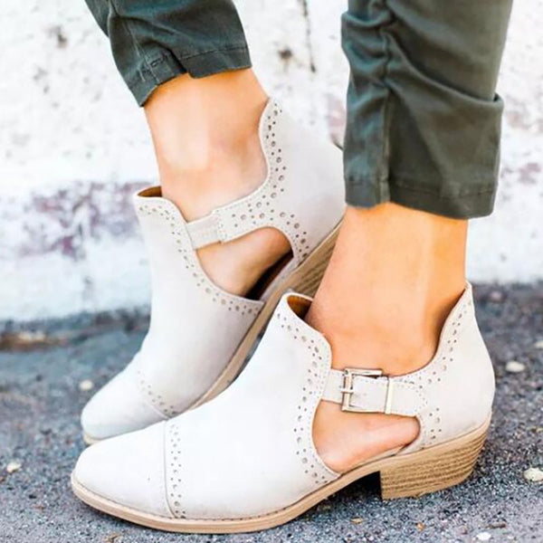 Women Ankle Strap Hollow Out Chunky Booties Casual Plus Size Shoes