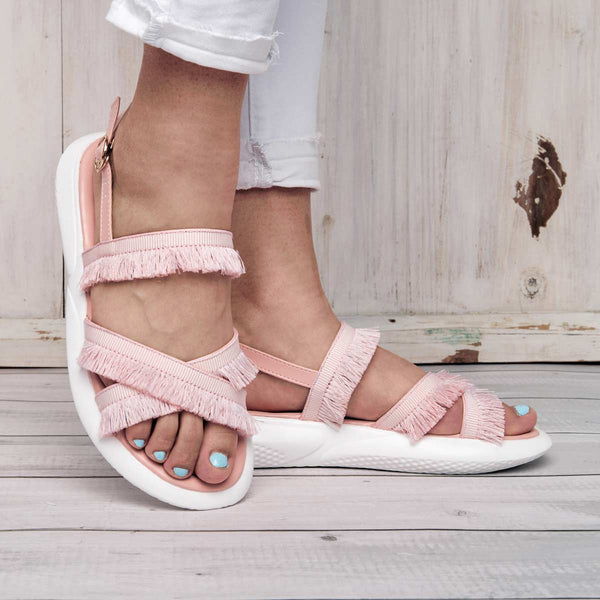 Pink Sweet Fringed Sandals Faux Suede Summer Platform Buckle Sandals