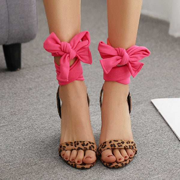 Contrast Color Lace-up Chunky Heeled Sandals