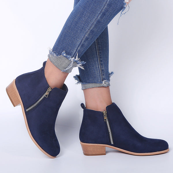 Women Clean Booties Casual Zipper Comfort Plus Size Shoes
