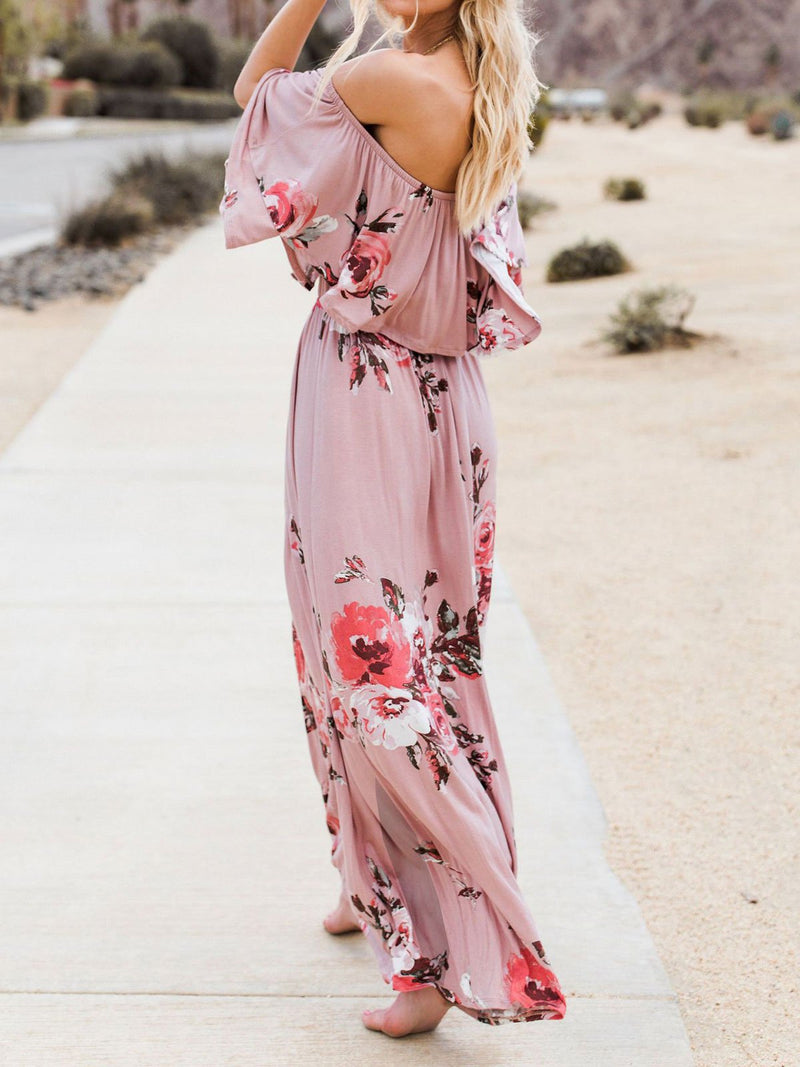 Floral Print Off Shoulder Backless Falbala Maxi Dress