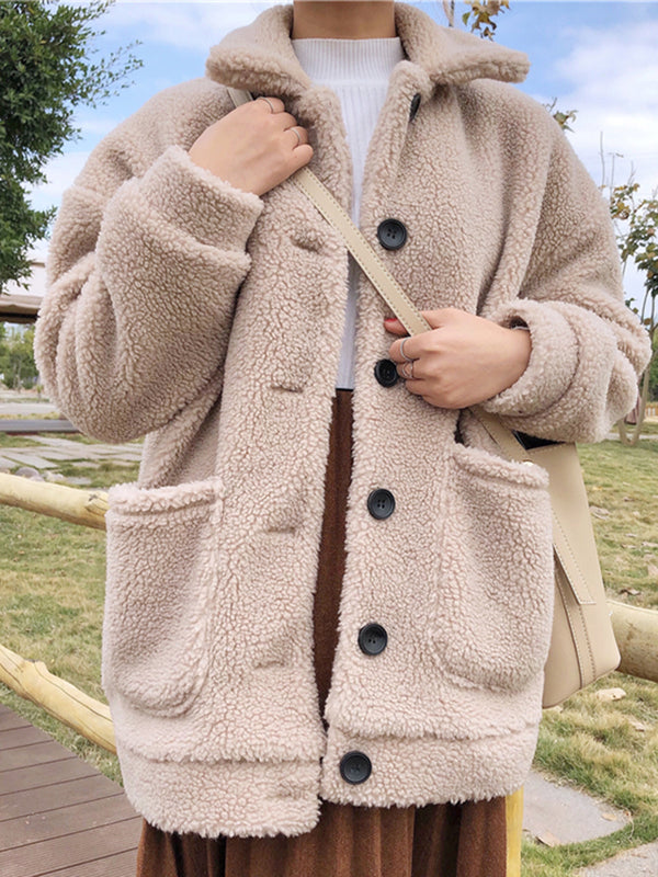 Beige Casual Cotton-Blend Long Sleeve Outerwear