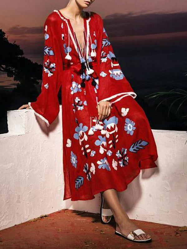 Plus Size Women Red Daily Casual Bell Sleeve Printed Floral Maxi Dress
