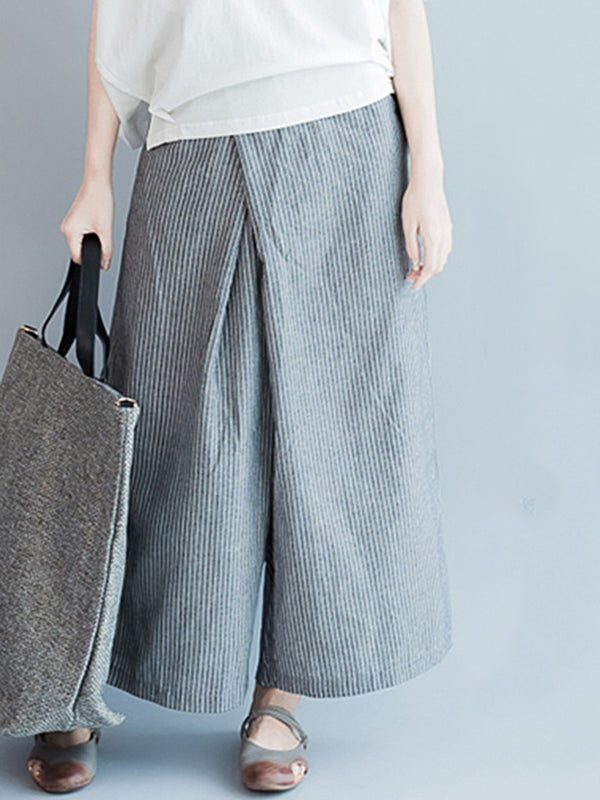 Striped Casual Pockets Pants