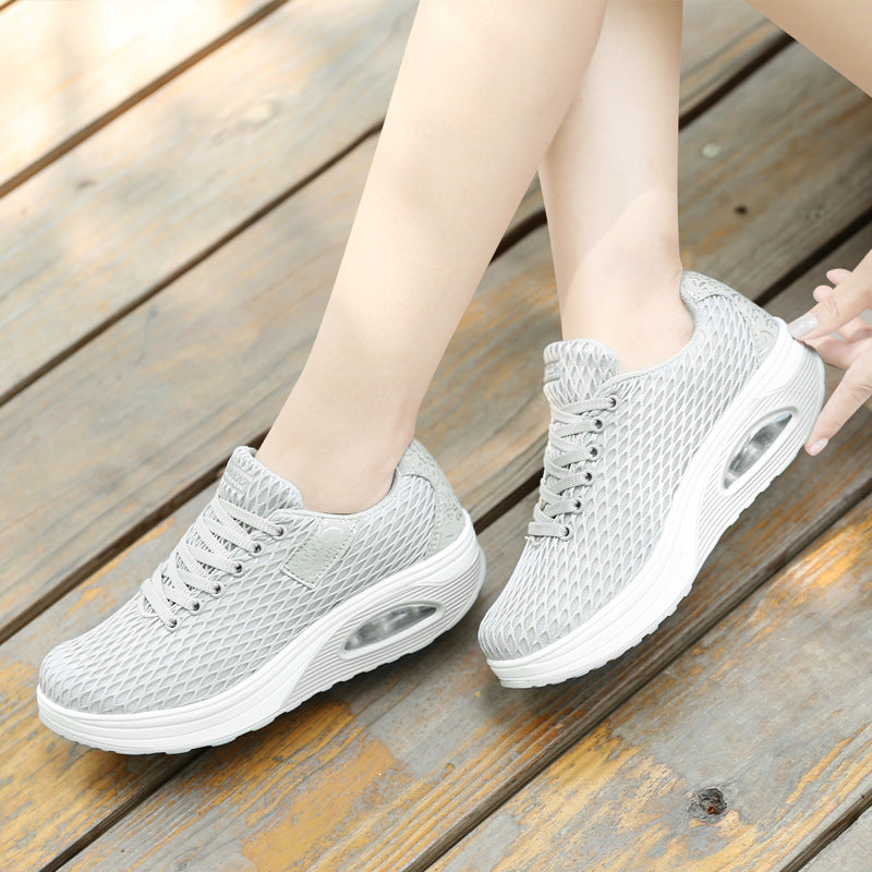 Athletic Lace-up Mesh Fabric Platform Sneakers