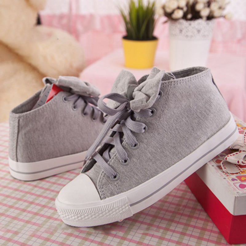 Women Booties Sneakers Casual Bownot Lace Up Shoes