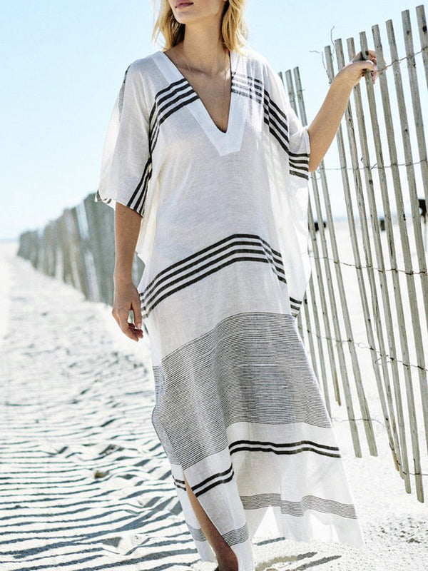 Women White Batwing Holiday Slit Striped Dress
