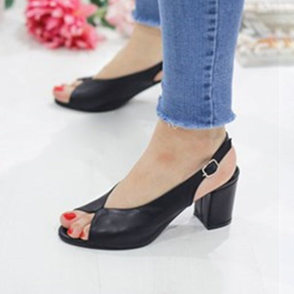 Adjustable Buckle Chunky Heel Peep Toe Heels