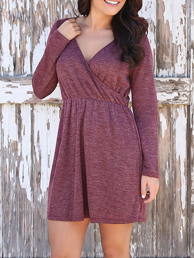 Red V Neck A-line Polyester Basic Casual Dress