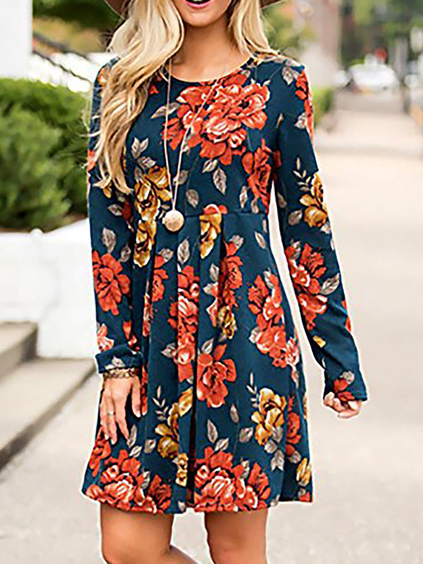 Yellow Cotton Crew Neck Basic Floral Casual Dress