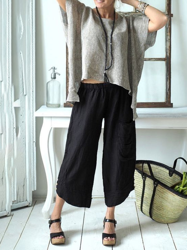 Solid Buttoned Casual Pants