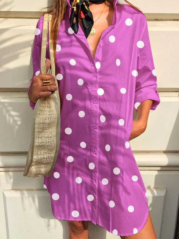 Summer Dress Polka Dots Shirt Collar Long Sleeves Casual Dresses/Tunic Shirts