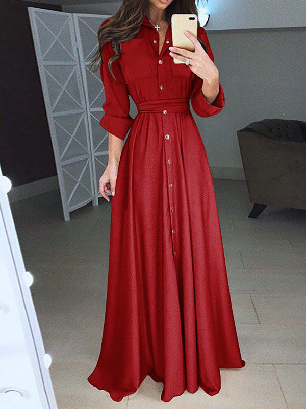 Shawl Collar  Swing Women Daily Casual Long Sleeve Paneled Solid Elegant Dress