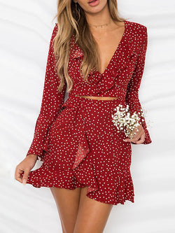 Women Daily Satin Sweet Paneled Polka Dots Summer Dress
