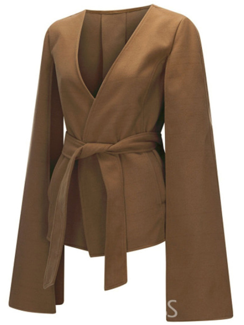 Solid Vintage Coat V Neck Outerwear