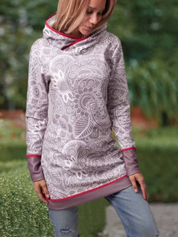 Cotton-Blend Tribal Long Sleeve Hoodie Dresses