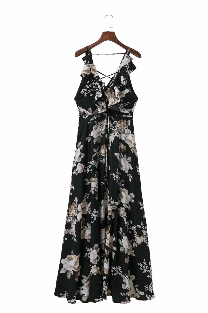 Black Floral Spandex Spaghetti Swing Vacation Dress